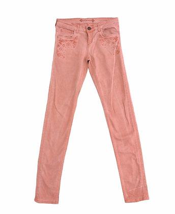 Růžové kalhoty s výšivkou, PROMOD, vel. 36