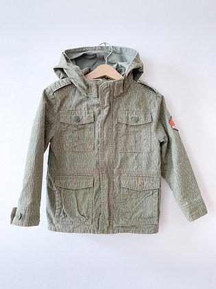 Khaki bunda s potiskem na zádech H&M, vel. 3-4y