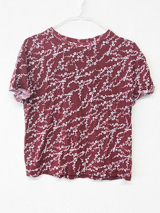 Vínové triko s kvítky, ZARA, vel. S