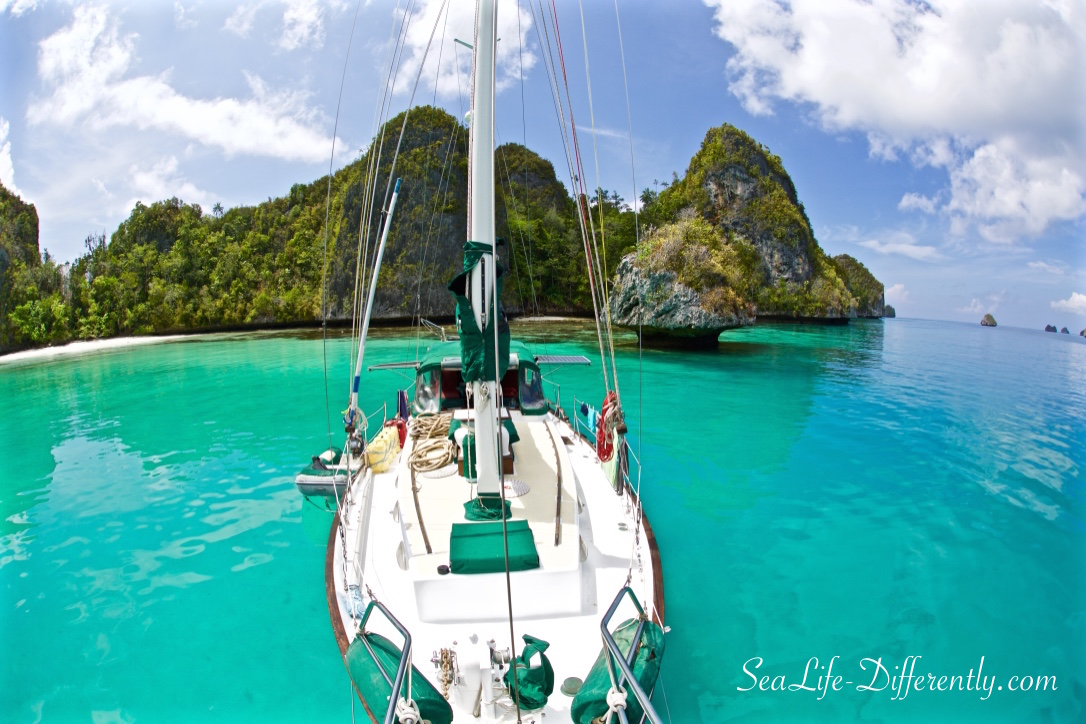 Keira at anchor in Wayag, Raja Ampat