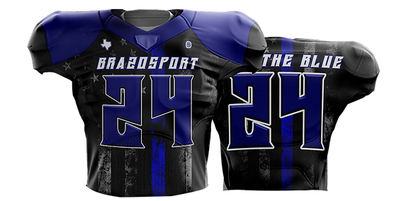 BRAZOSPORT BACK THE BLUE FOOTBALL JERSEY