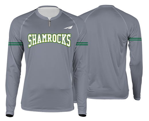 SHAMROCKS GREY LONG SLEEVE QUARTERZIP