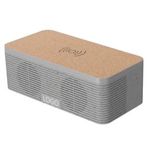 Wheat Straw+Cork wireless charging Bluetooth speaker