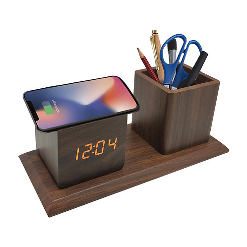 Wood Wireless charger with alarm clock