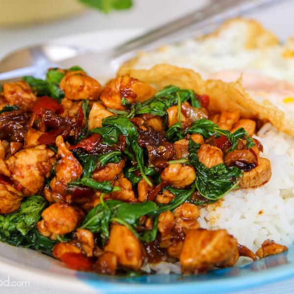 Original thai basil with fried egg