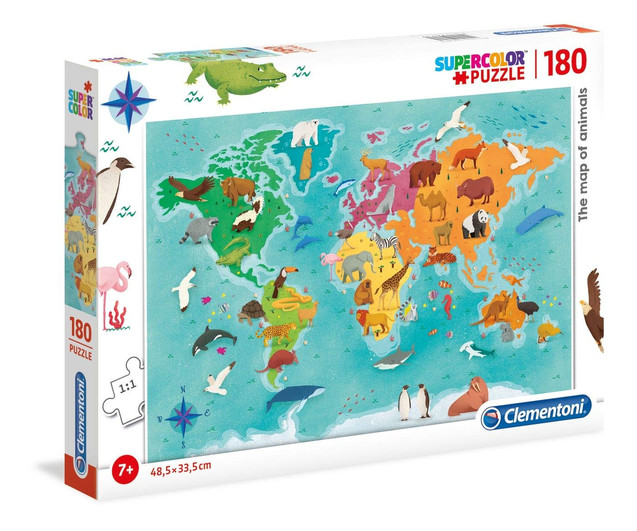 Super Color Puzzle, The Map of Animals, Clementoni