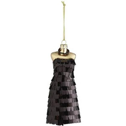 Black Sequin Little Black Dress Ornament