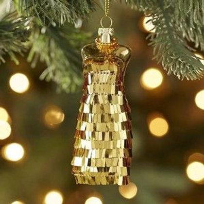 Gold Sequin Dress Ornament