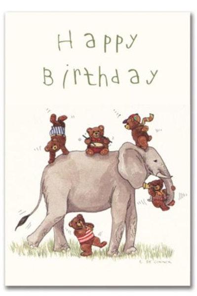 Teddy Bears and Elephant Birthday Card