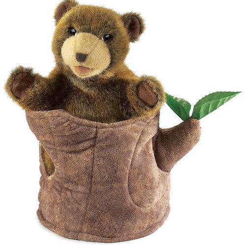 Bear in Tree Stump Puppet