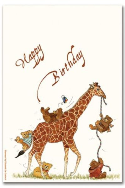 Teddy Bears and Giraffe Birthday Card