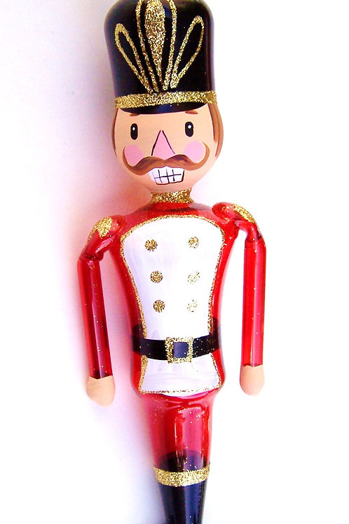 Festive Nutcracker Glass Ornament
