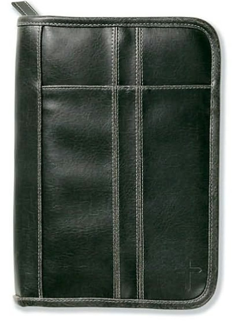 Distressed Leather Black with Stitching Accent