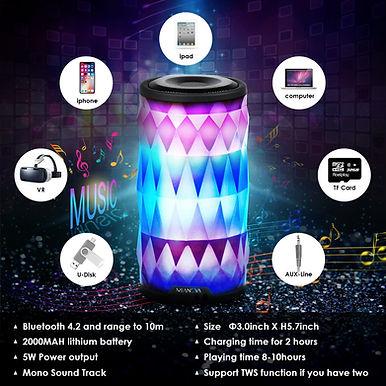 Mianova LED Portable Bluetooth Speaker 6-Colors LightThemes