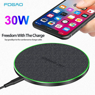 FDGAO 30W Qi Wireless Charger for iPhone 11 Pro XS X XR 8 / Samsung S20 S10