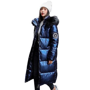 Women Hooded X-Long Shiny Oversize Down Winter Coats