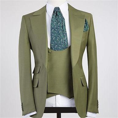 Latest Design One Button Men Suits 3 Pieces Costume Slim Fit