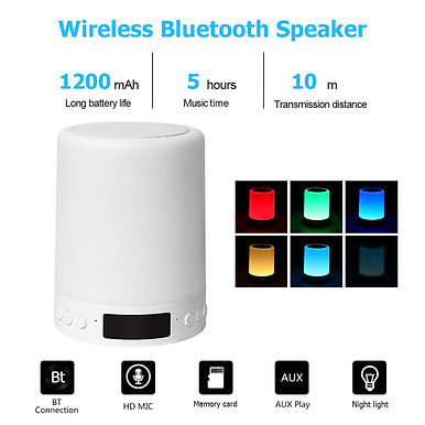 LED Table Lamp Touch Dimmable Bluetooth Speaker Digital Alarm Clock