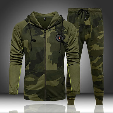 Camo Men Tracksuit Hooded 2 Pieces