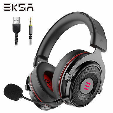 EKSA E900 PRO USB Gaming Headset 7.1 Surround Sound Wired - Black Headphones