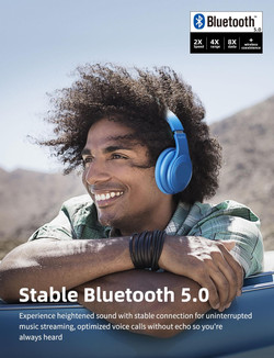 Dyplay Wireless noise cancelling headset Bluetooth 5.0 foldable with microphone