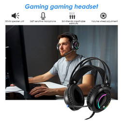 Gaming Headset Wired With Noise Cancelling Microphone LED Light - Black