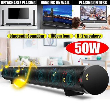 50W HiFi Detachable Wireless Bluetooth Soundbar Subwoofer