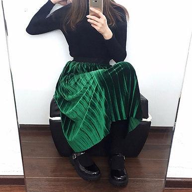 Fashion Skirt High Waist Velvet Pleated Skirt Women Solid Elastic