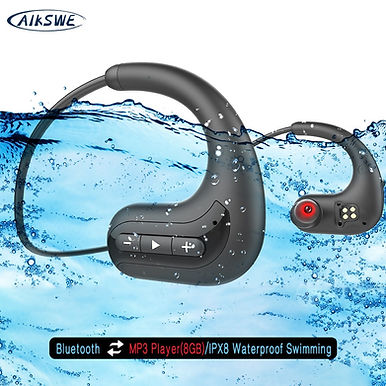 AIKSWE Bluetooth Headphone Headset 8GB IPX8 Waterproof Wireless