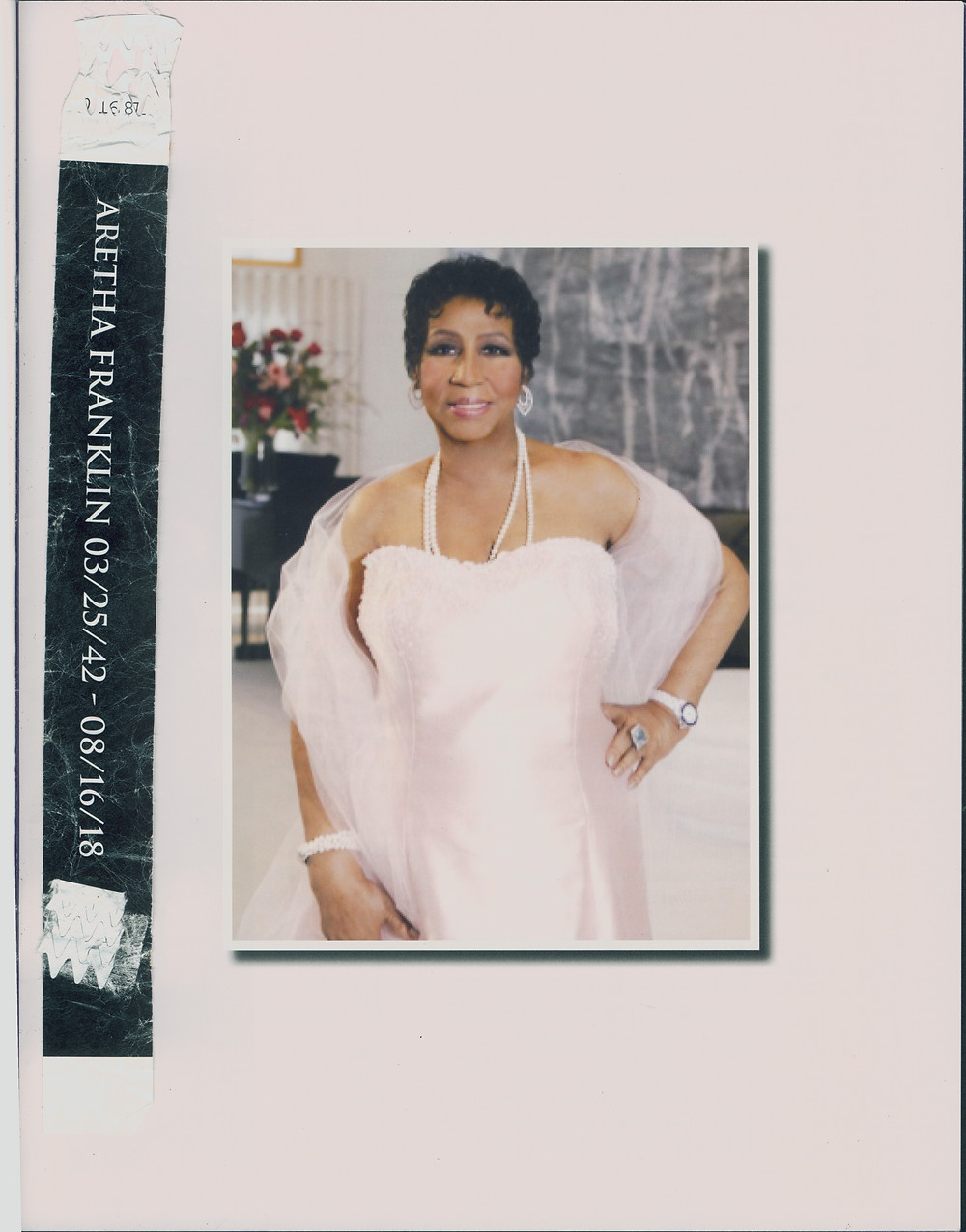 My black VIP wristband and page 3 of Aretha Franklin's Homegoing program