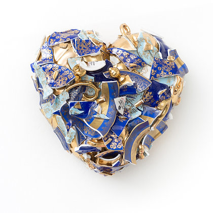 BLUE & GOLD HEART (H14)