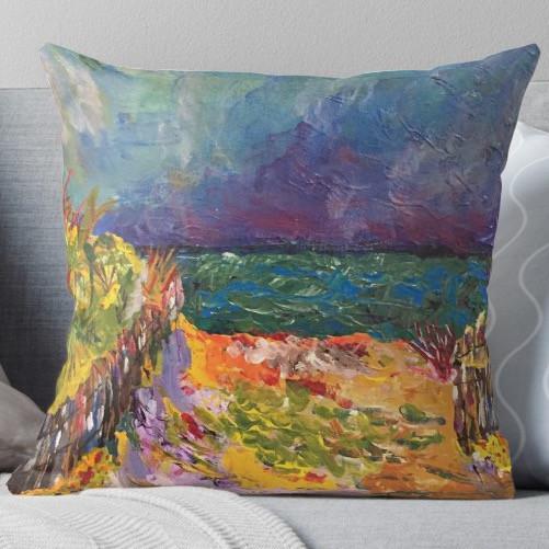 fauvist beach throw pillow