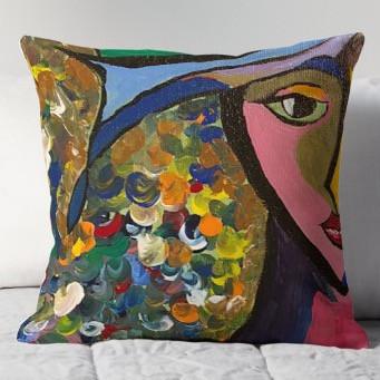 cubist woman throw pillow