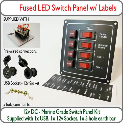 Marvelous Marine Switch Panel Kit 4 Way Fused Led 12V Usb Wiring Digital Resources Anistprontobusorg