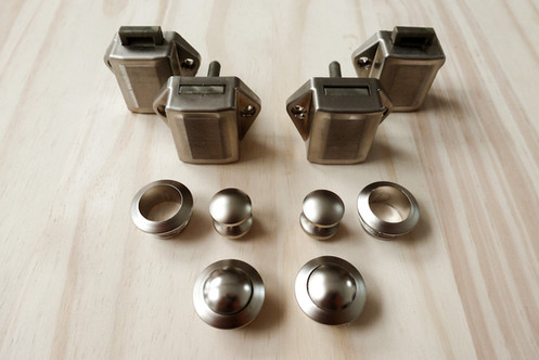 Camper mini nickel push button door lock pack of 4