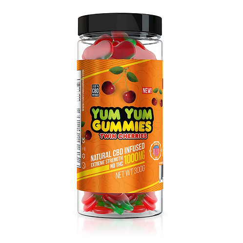 Yum Yum Gummies 1000mg - CBD Infused Twin Cherries