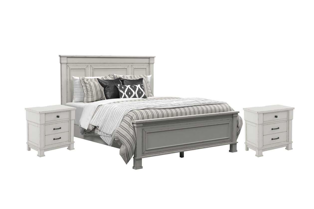 Jennily Queen Bed with 2 Nightstands ITE