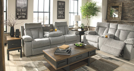 Mitchiner Reclining Sofa with Drop Down