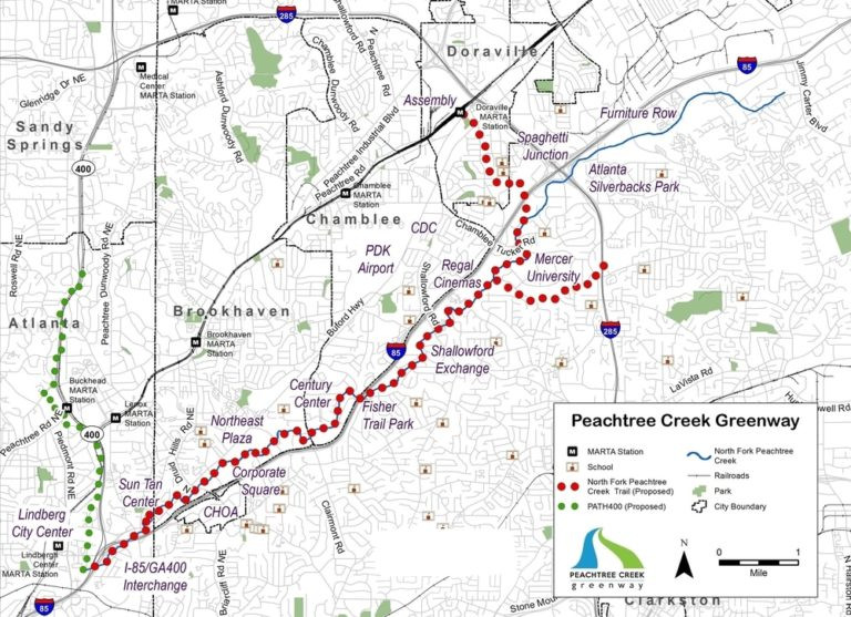 A map of the Peachtree Creek Greenway's proposed route, connecting Doraville and north of Mercer University in unincorporated DeKalb County to Buckhead via Chamblee and Brookhaven. (Peachtree Creek Greenway, Inc.)