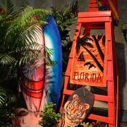 Orange Lifeguard Chair w/ Surfboard Cutout