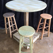 Rustic Tables W/ 3 Stools