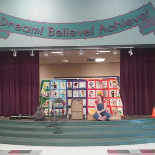 Getting ready to perform at Antonello Elementary School.