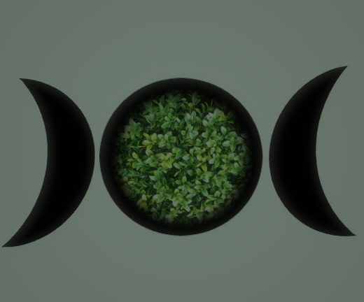 The symbol for the triple goddess explores the different phases of a witches life with the crescents being the Maiden and Crone respectfully on each side and the full moon being the Mother.