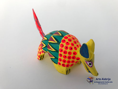 Wooden Alebrije | Small Size Yellow-Green Armadillo