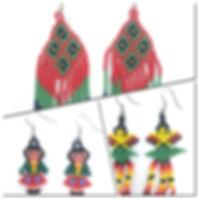 aretes de chaquira, artesania huichol, v