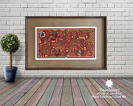 Cuadro de Estambre Enmarcado Rojo 97 X 166 cms