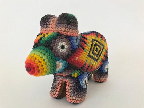 Cerdito de Chaquira - Arte huichol