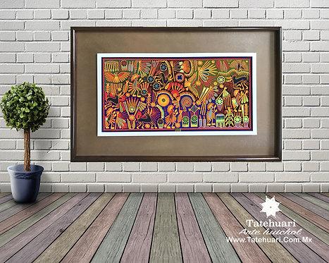 Cuadro de Estambre Enmarcado Colores 2. 97 X 166 cms