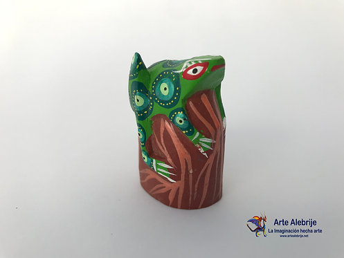 Wooden Alebrije | Small Size Frog -Stone Brown