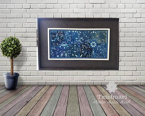 Cuadro de Estambre Enmarcado Azul Toro 97 X 166 cms
